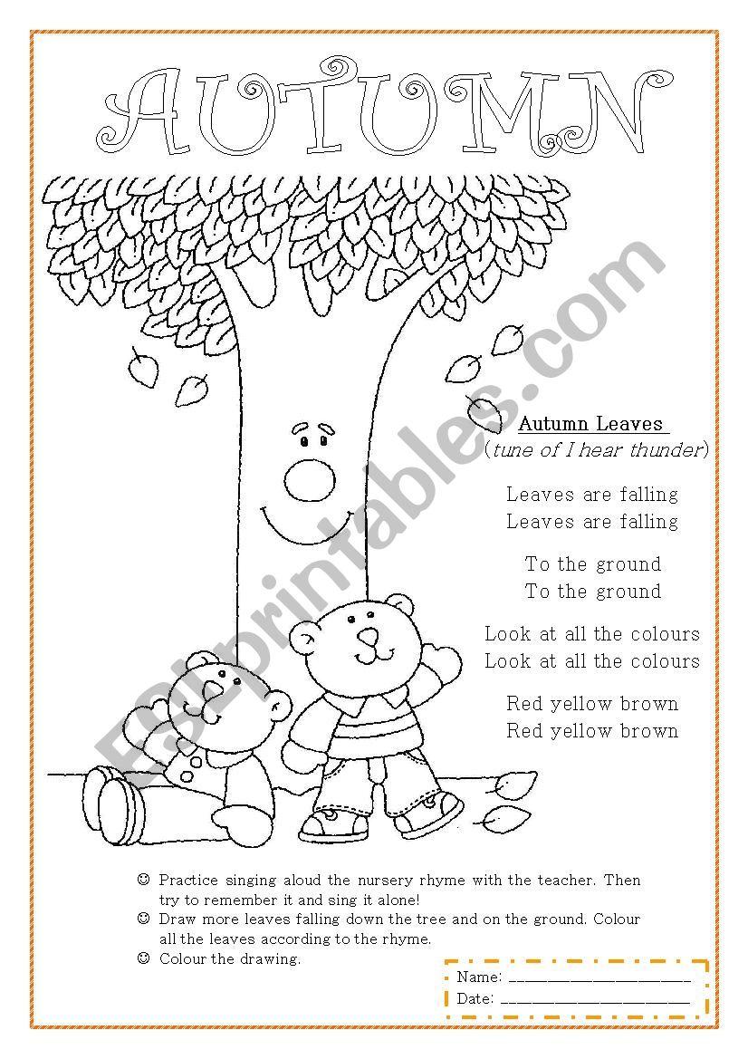 Autumn nursery rhyme worksheet