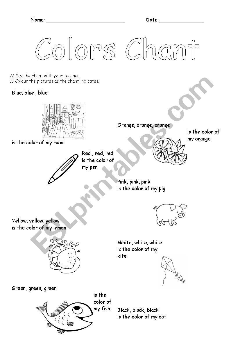 Colors Chant worksheet