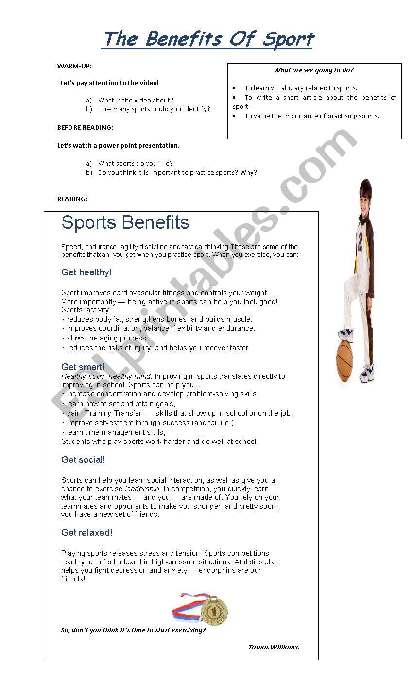 The Benefits Of Sport. worksheet