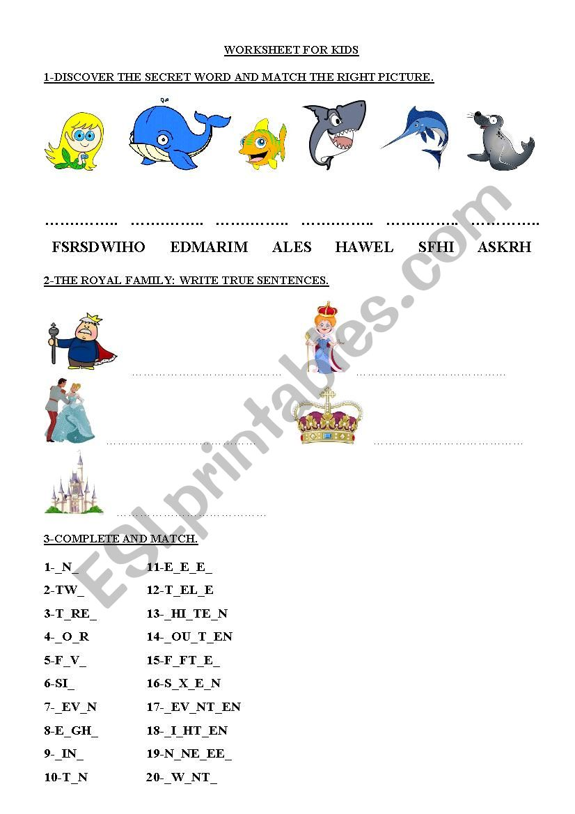 Worksheet for kids worksheet