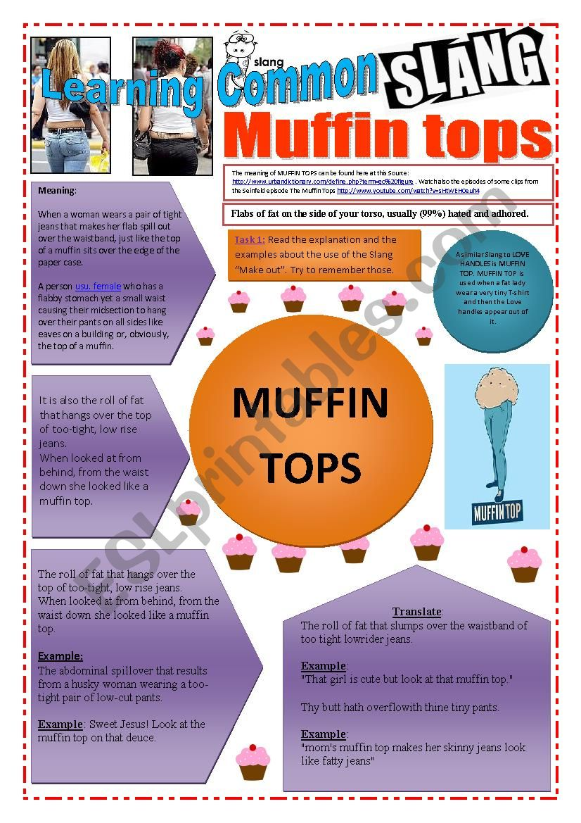 SLANG - Learning Common Slang - MUFFIN TOPS Part 2 of 2 (4 pages) -VIDEO LINK - A complete worksheet with 10 exercises and instructions