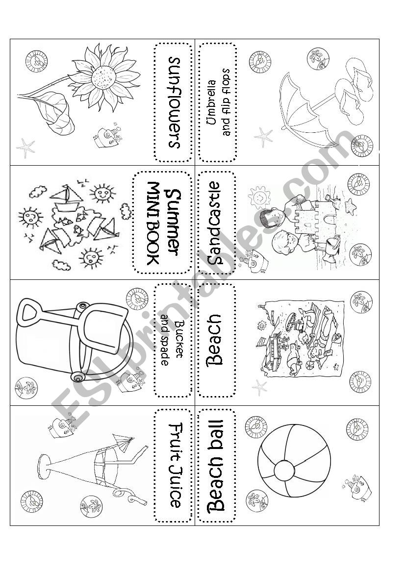 Summer mini book worksheet