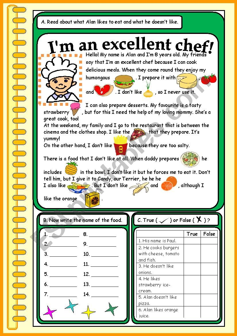 I´m an excellent chef! worksheet