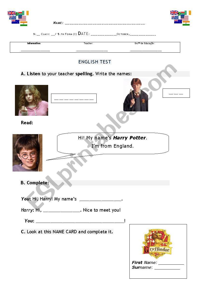 1st name, Surname, Nickname worksheet