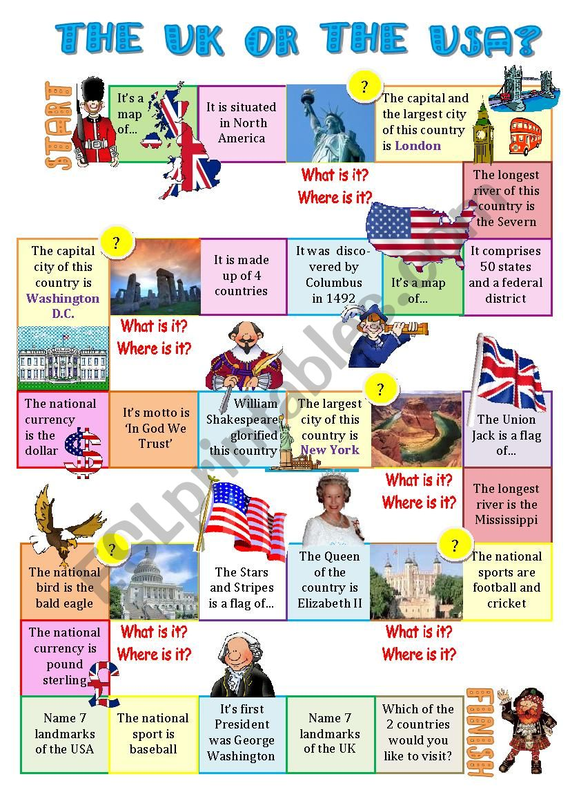 The UK or the USA-board game worksheet
