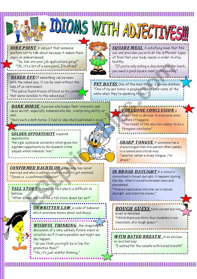 IDIOMS WITH ADJECTIVES AND FIXED PHRASES!!! THIS WORKSHEET