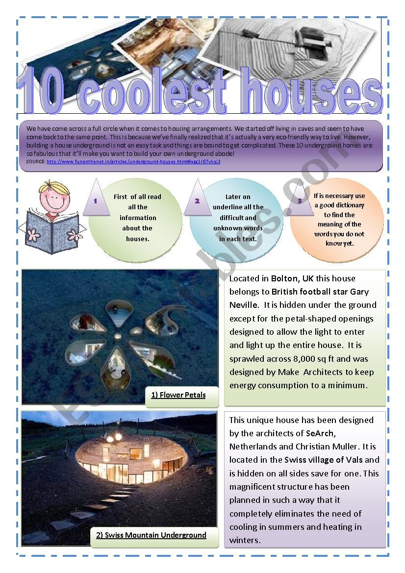 HOUSES - 10 coolest underground houses (10 Pages) with images + exercises + Memory game