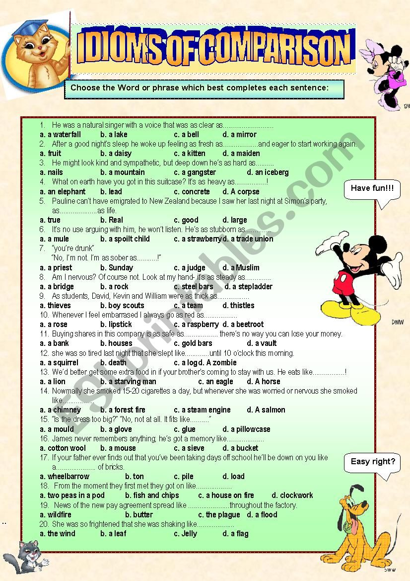 idioms of comparison practice!! it comnes along with the