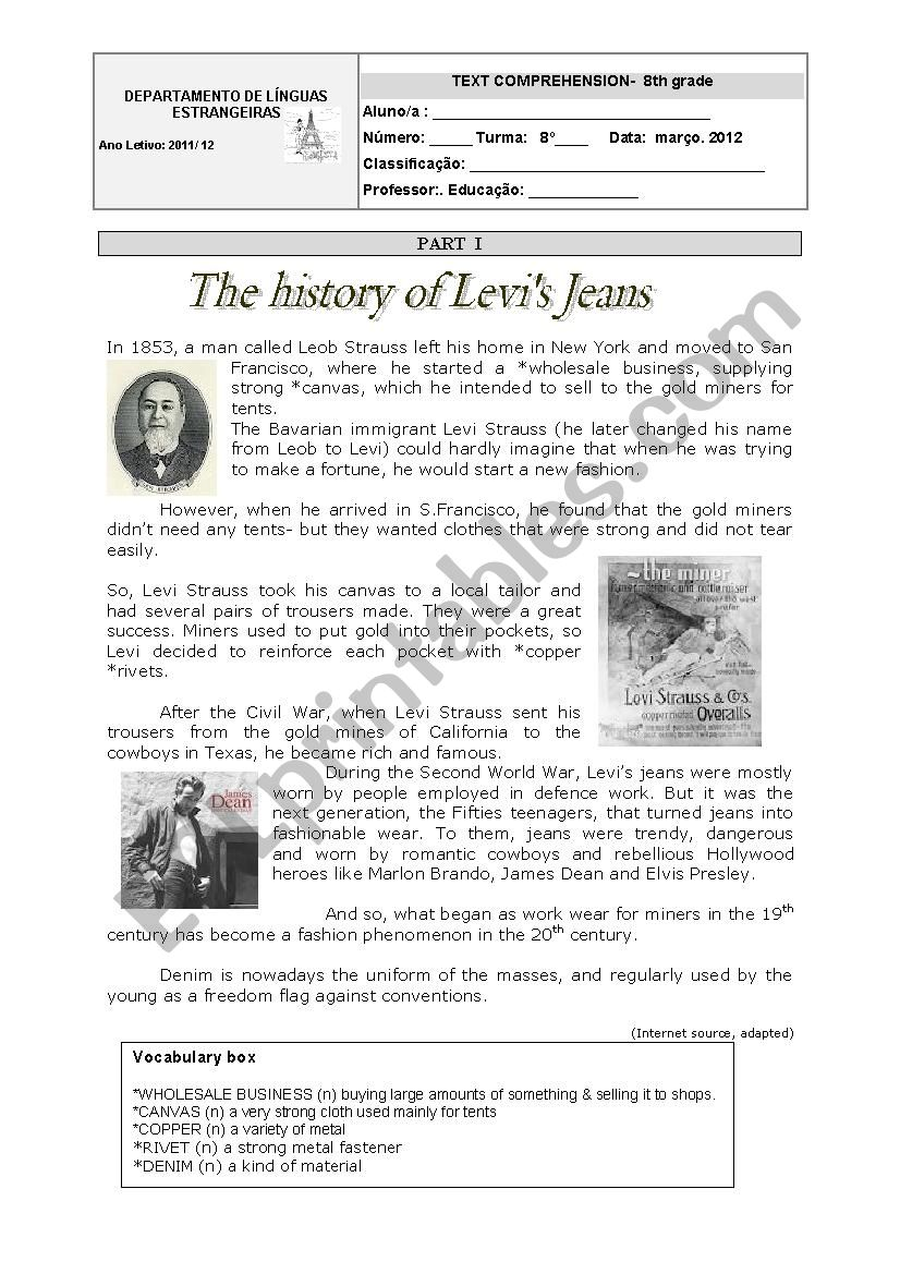 The history of Levi´s Jeans-8th grade WS
