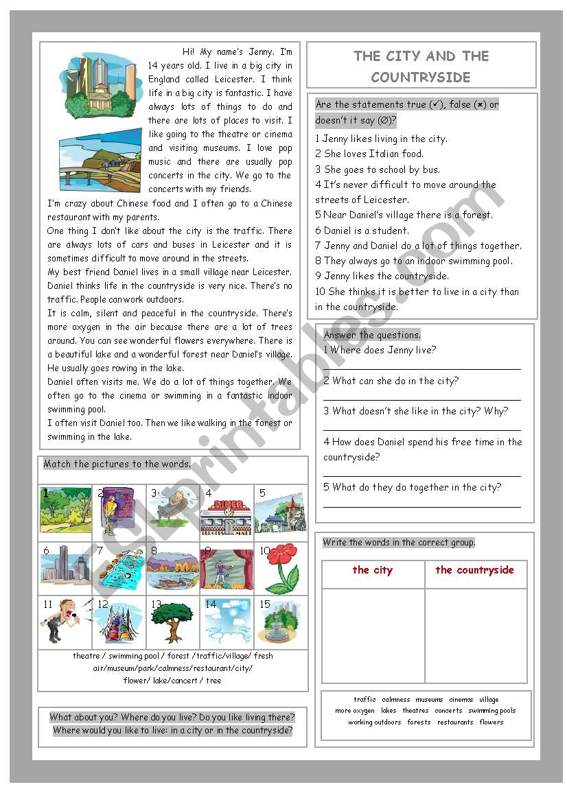 The City and the Countryside worksheet