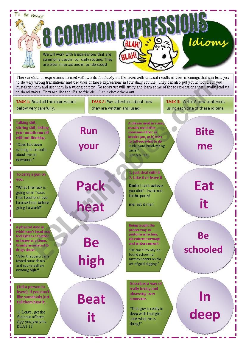 IDIOMS & EXPRESSIONS - (4 pages) 8 EXPRESSIONS ABOUT COMMON IDIOMS + THE USE OS THE WORD - SLANG - Examples and exercises