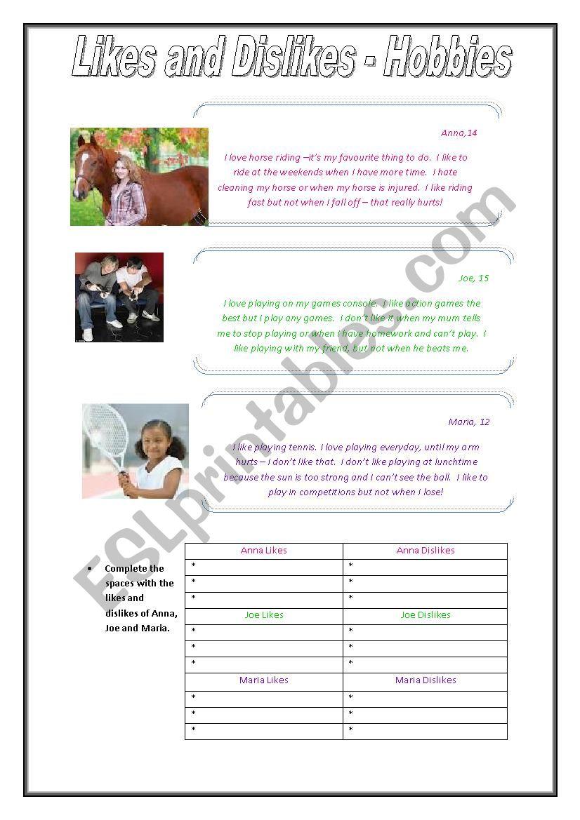 Likes and Dislikes - Hobbies worksheet
