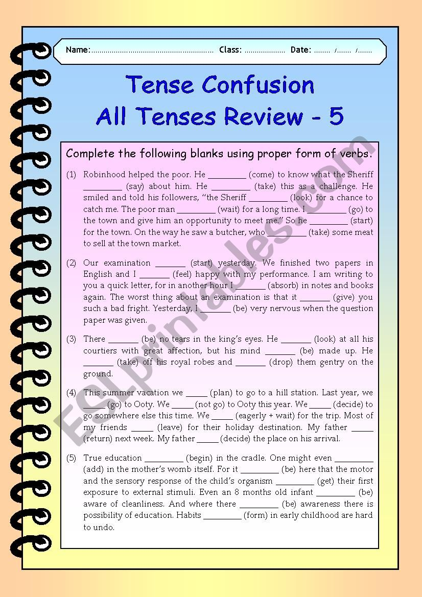 Tense Confusion All Tenses (mixed) Review - 5
