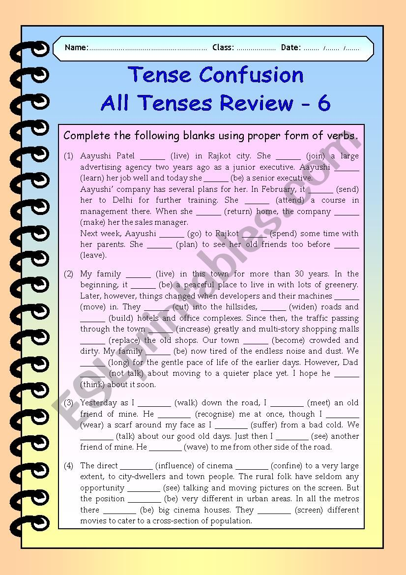 Tense Confusion All Tenses (mixed) Review - 6