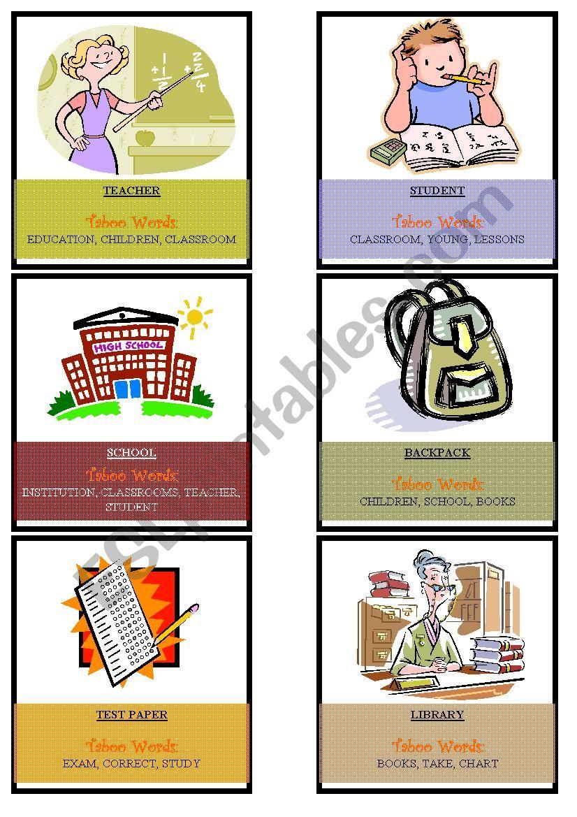 School Taboo Cards worksheet