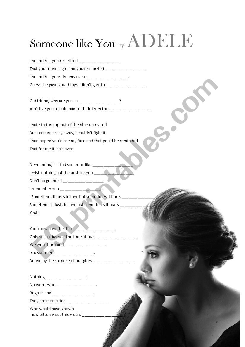 Song Lesson Someone Like You By Adele Esl Worksheet By Lisa Holt