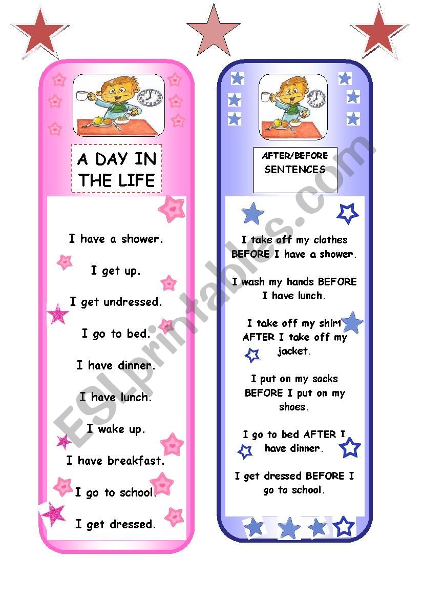 BOOKMARKS - daily routine + prepositions