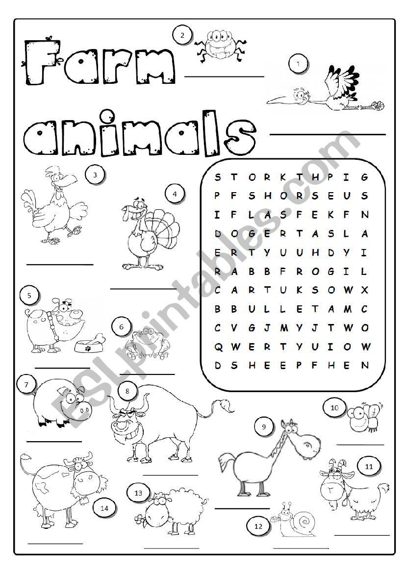 English Worksheets Farm Animals