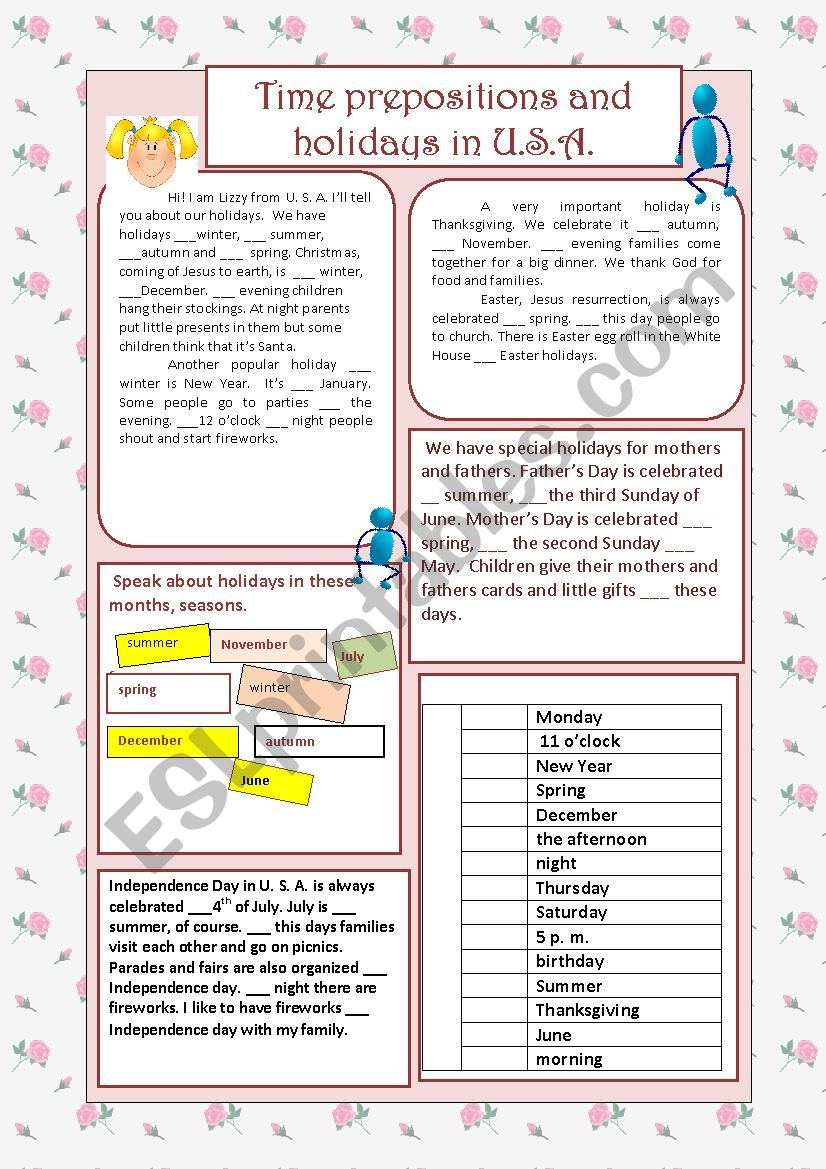 Dates, time and prepositions worksheet