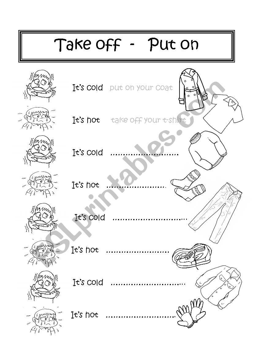 Clothes Take Off Put On Esl Worksheet By Mara69