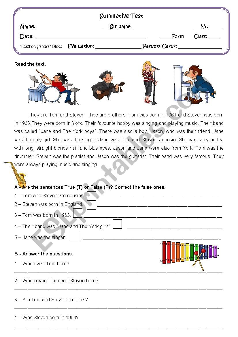 - PAST SIMPLE (Reading And Comprehension)- TEST - ESL Worksheet By