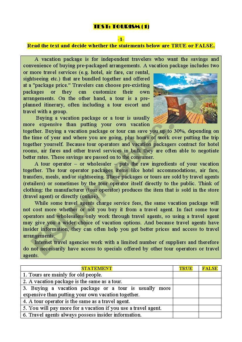 Test: TOURISM (1) worksheet