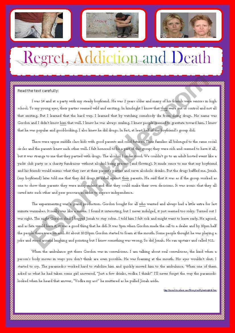 REGRET, ADDICTION AND DEATH worksheet