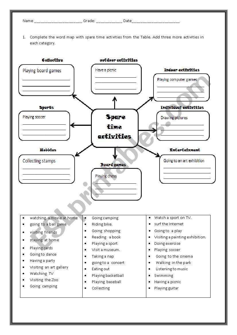 freetime  activities word map worksheet