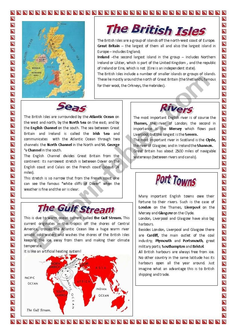 ABOUT THE BRITISH ISLES worksheet