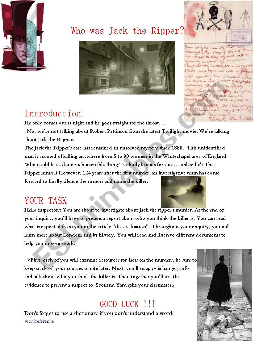 Jack the ripper webquest worksheet