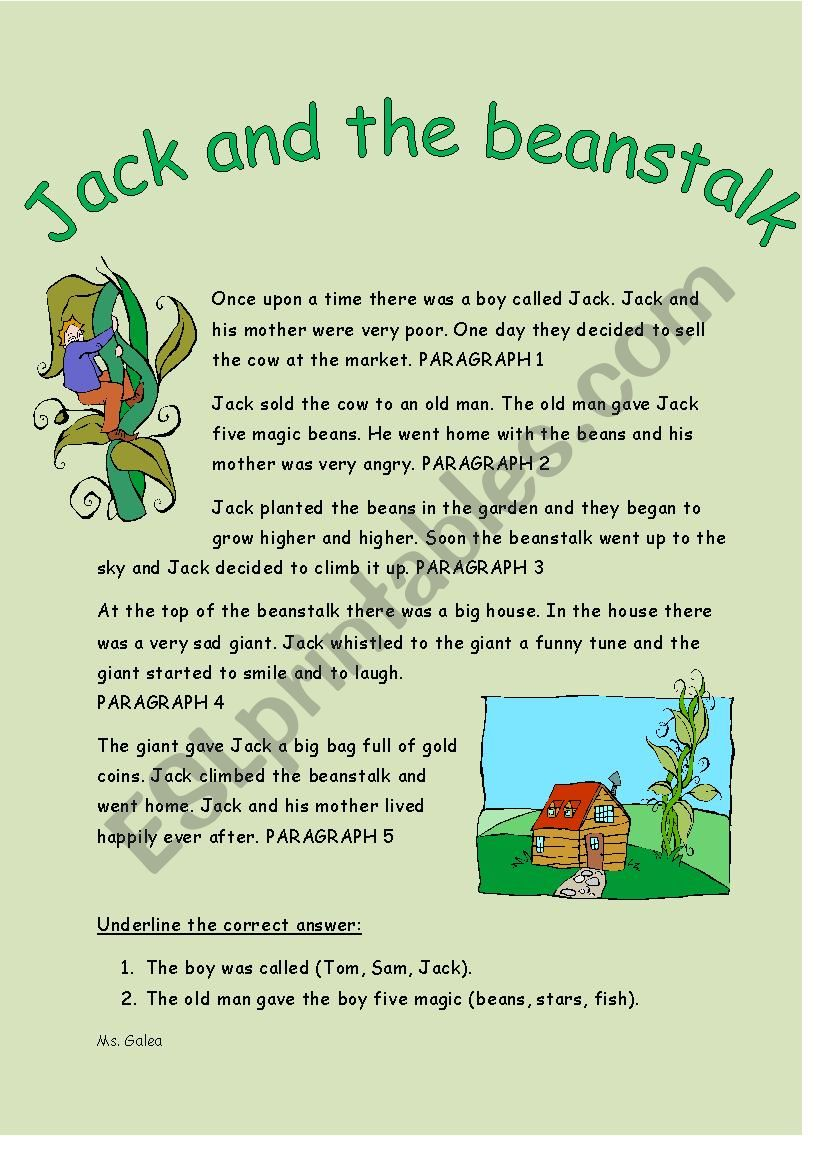 photo about Jack and the Beanstalk Story Printable identify Jack and the Beanstalk Studying Knowing - ESL worksheet