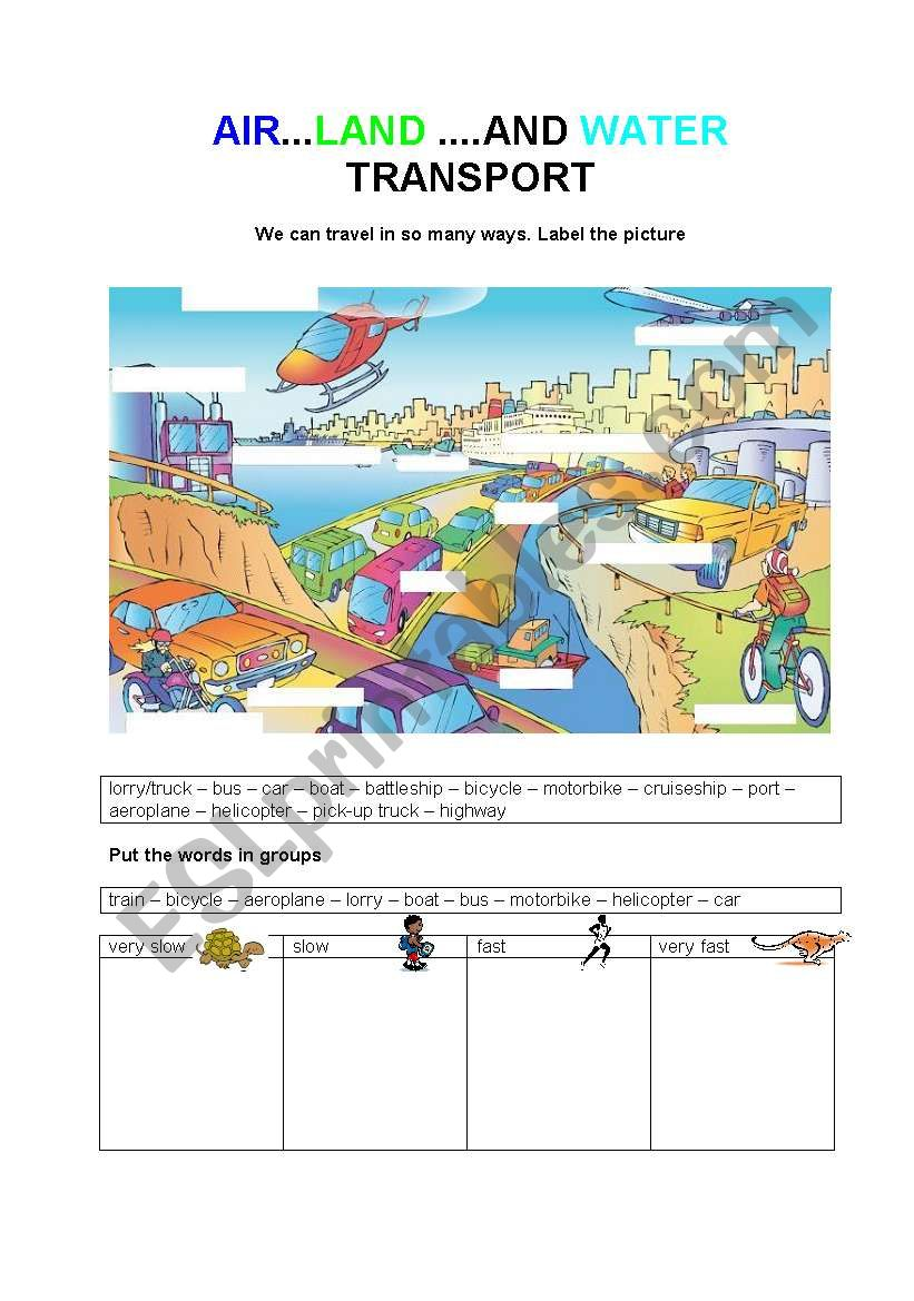 AIR, LAND AND WATER TRANSPORT worksheet
