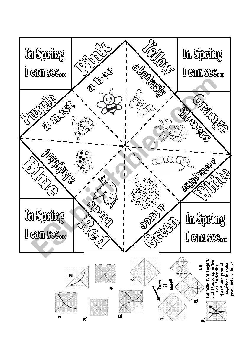 Spring fortune teller worksheet