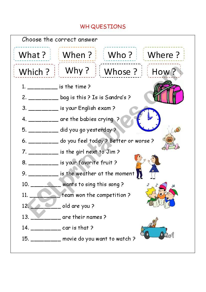 Wh Questions Esl Worksheet By Bloodsugar
