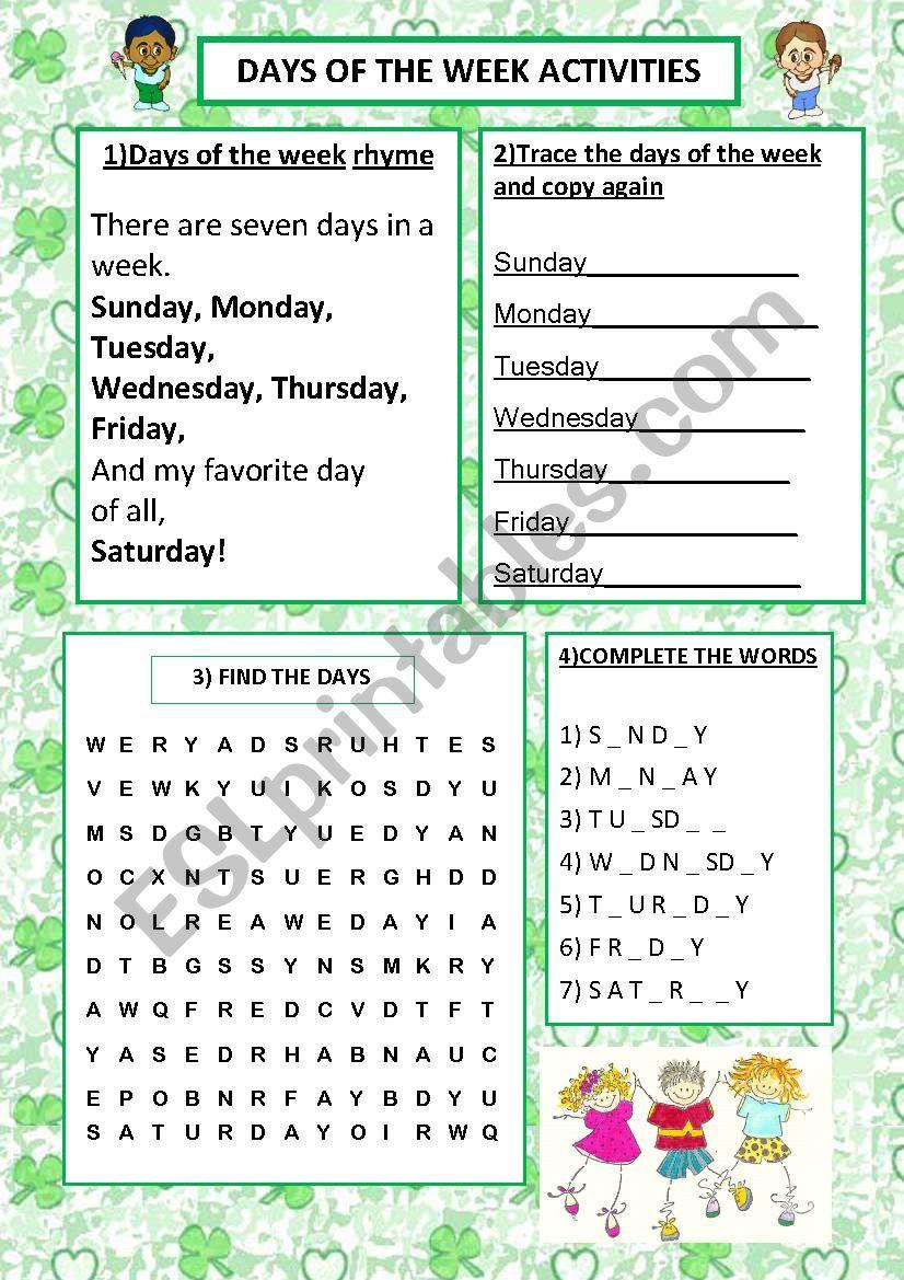4 days activities worksheet