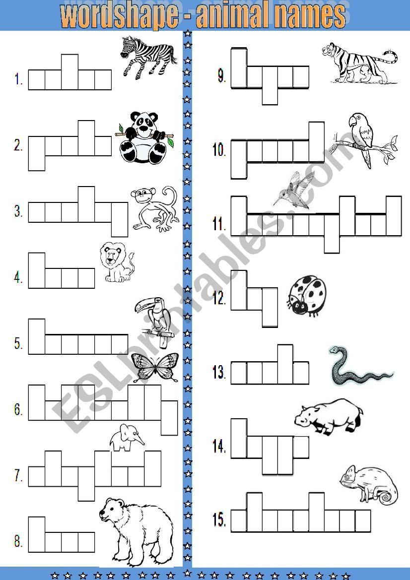 word shape animal names esl worksheet by srare. Black Bedroom Furniture Sets. Home Design Ideas