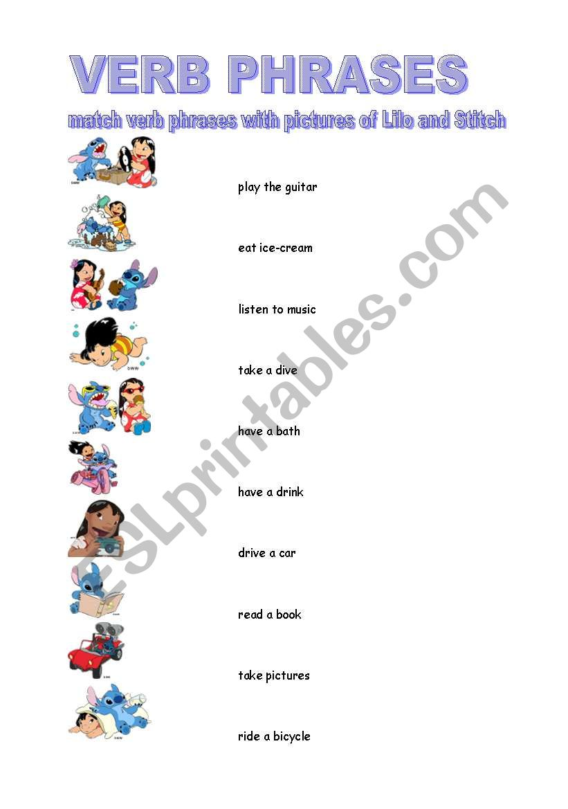 Verb Phrases Esl Worksheet By Borna
