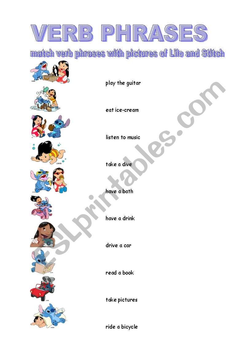 Worksheets Verb Phrases Worksheets verb phrases esl worksheet by borna worksheet