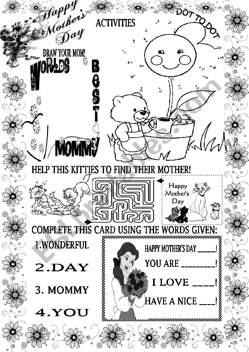 mother s day activities 5 esl worksheet by beauty and the best. Black Bedroom Furniture Sets. Home Design Ideas