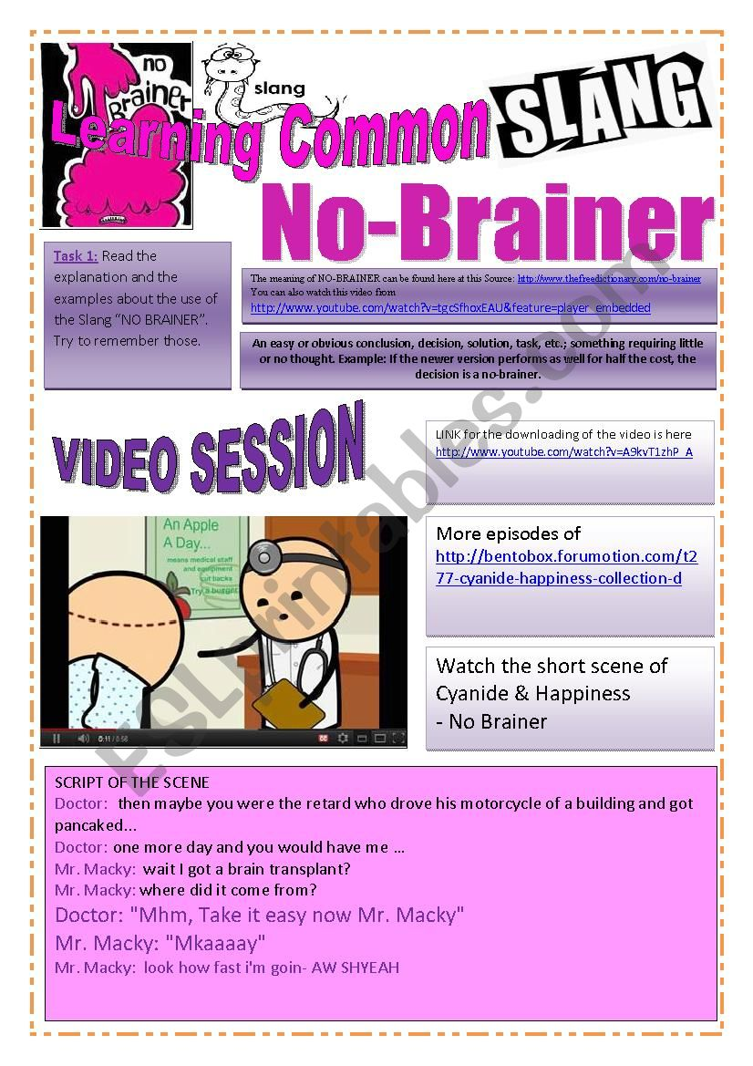 SLANG - Learning Common Slang - NO-BRAINER Part 2 of 2 (8 pages) -VIDEO LINK - A complete worksheet with many exercises and instructions