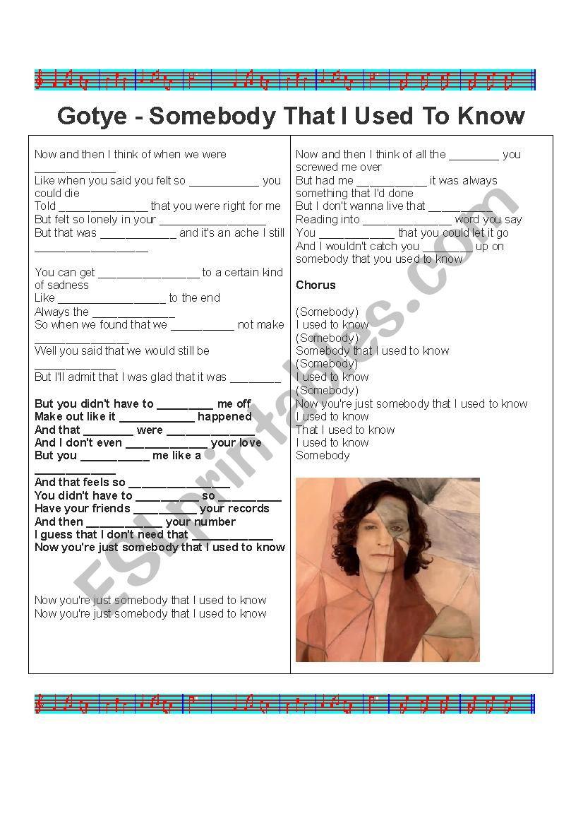 Fill in the blank- Gotye worksheet