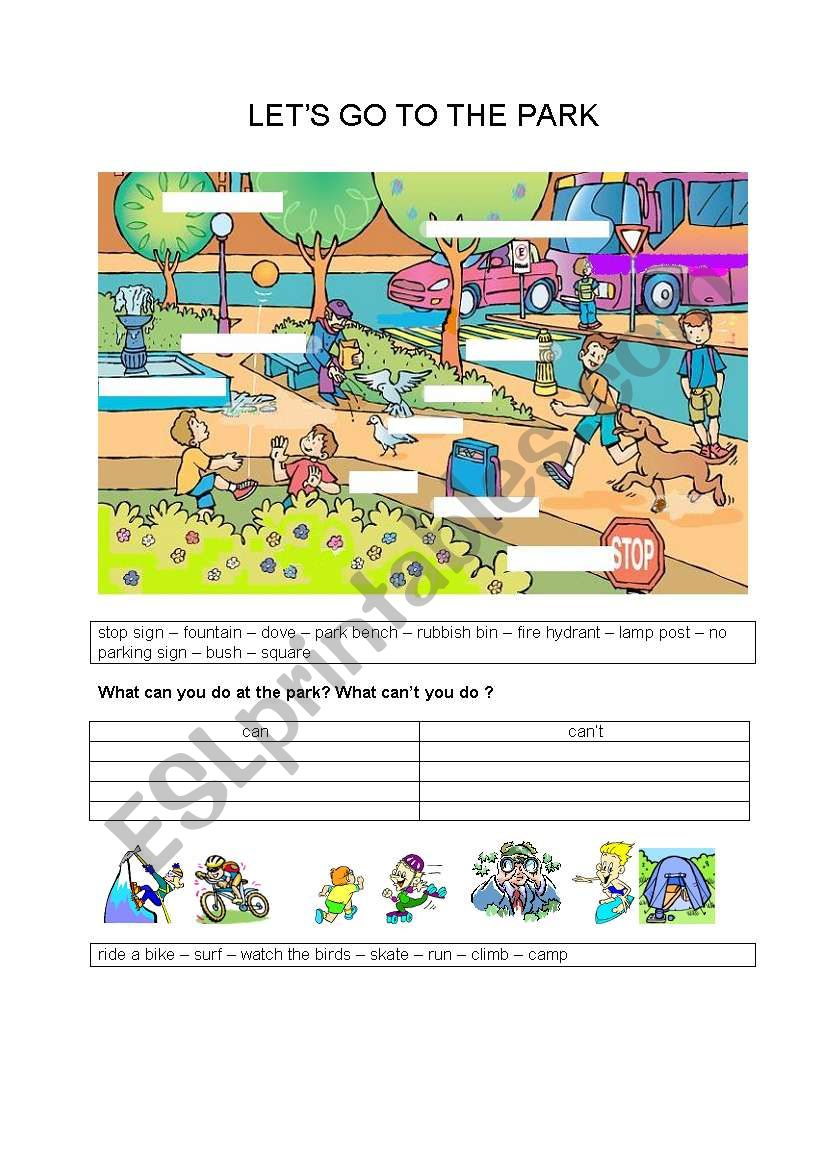 LET´S GO TO THE PARK worksheet