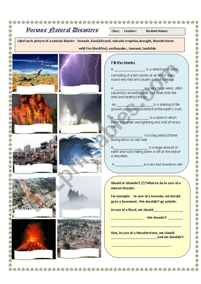 Natural Disasters Worksheet - Pics and Qs