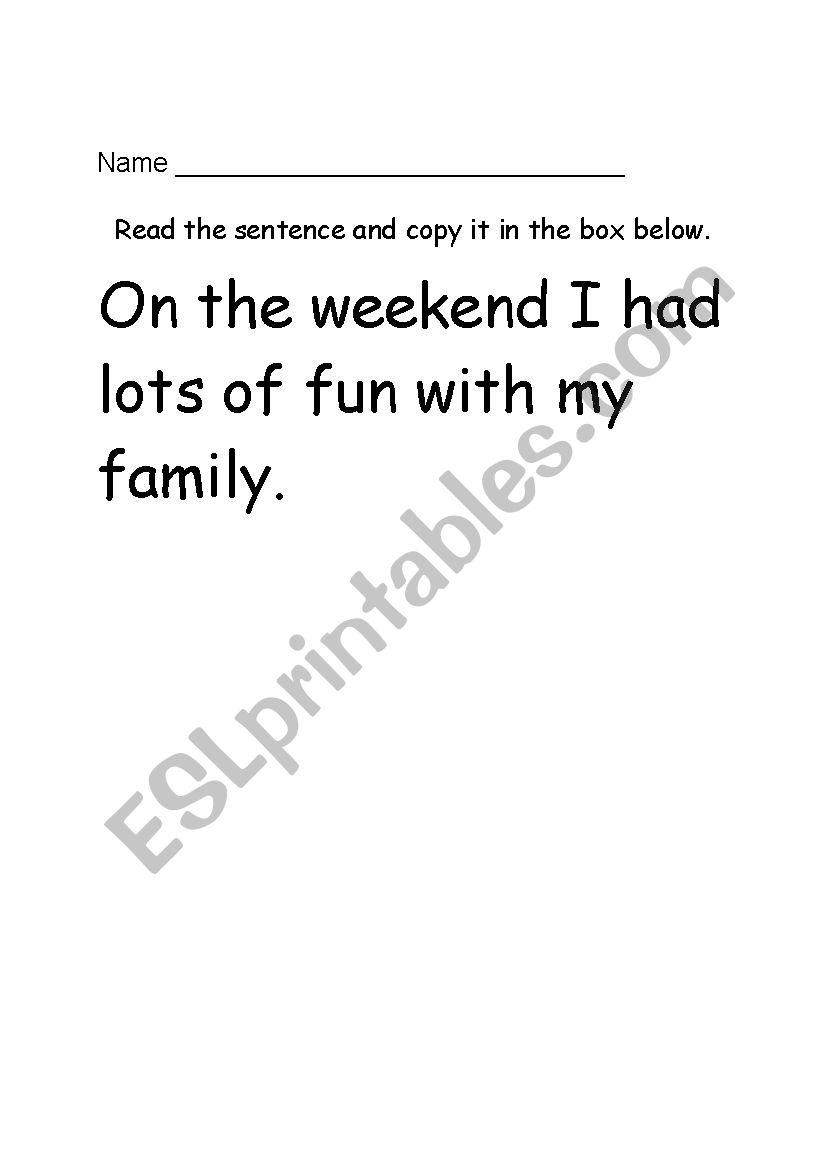 English worksheets: Sentence Copying