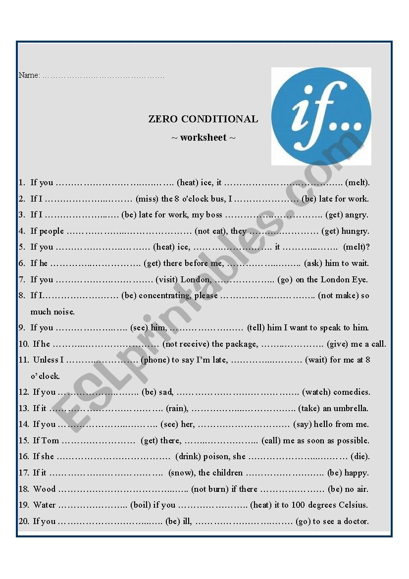 English Worksheets Zero Conditional