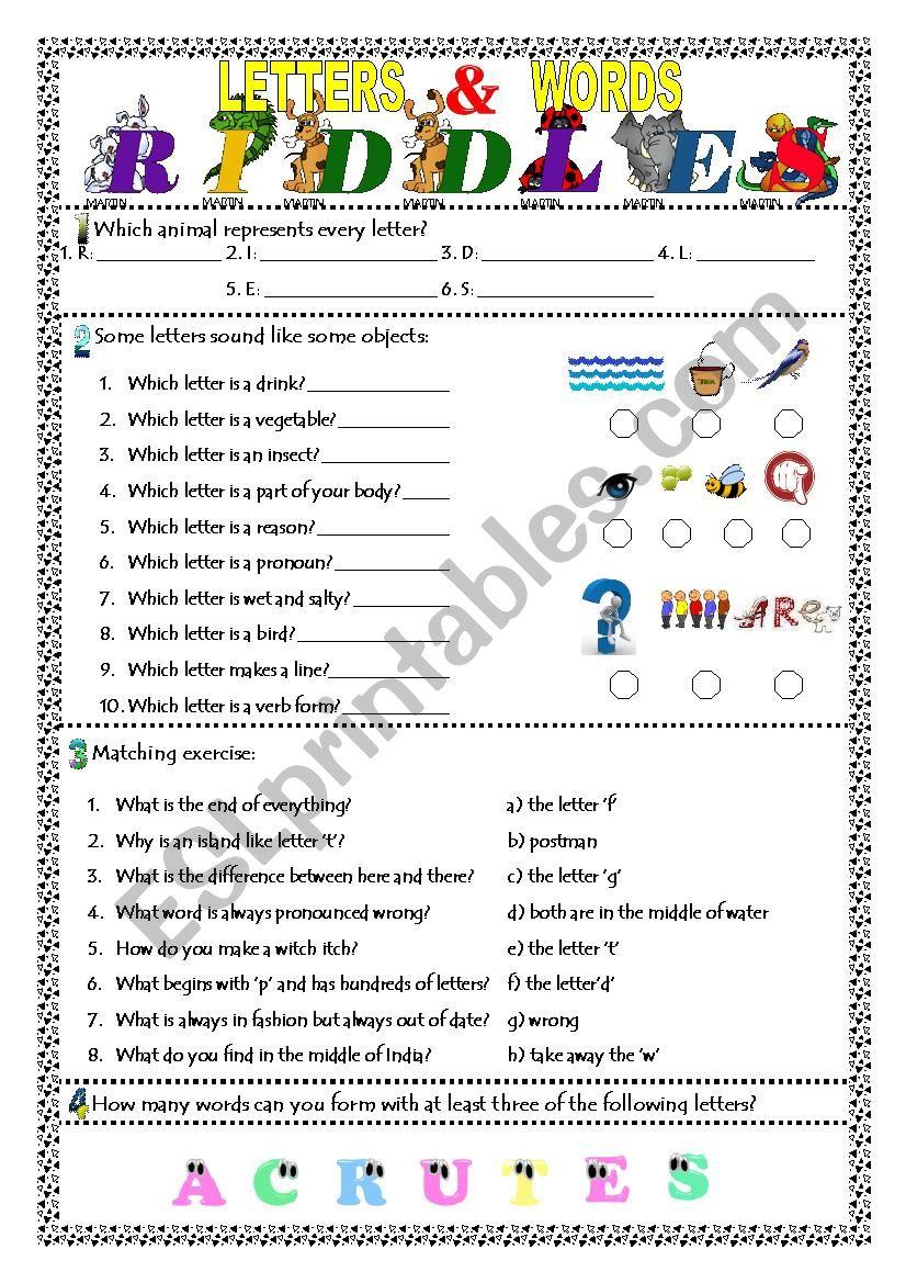 Letters & Words Riddles worksheet