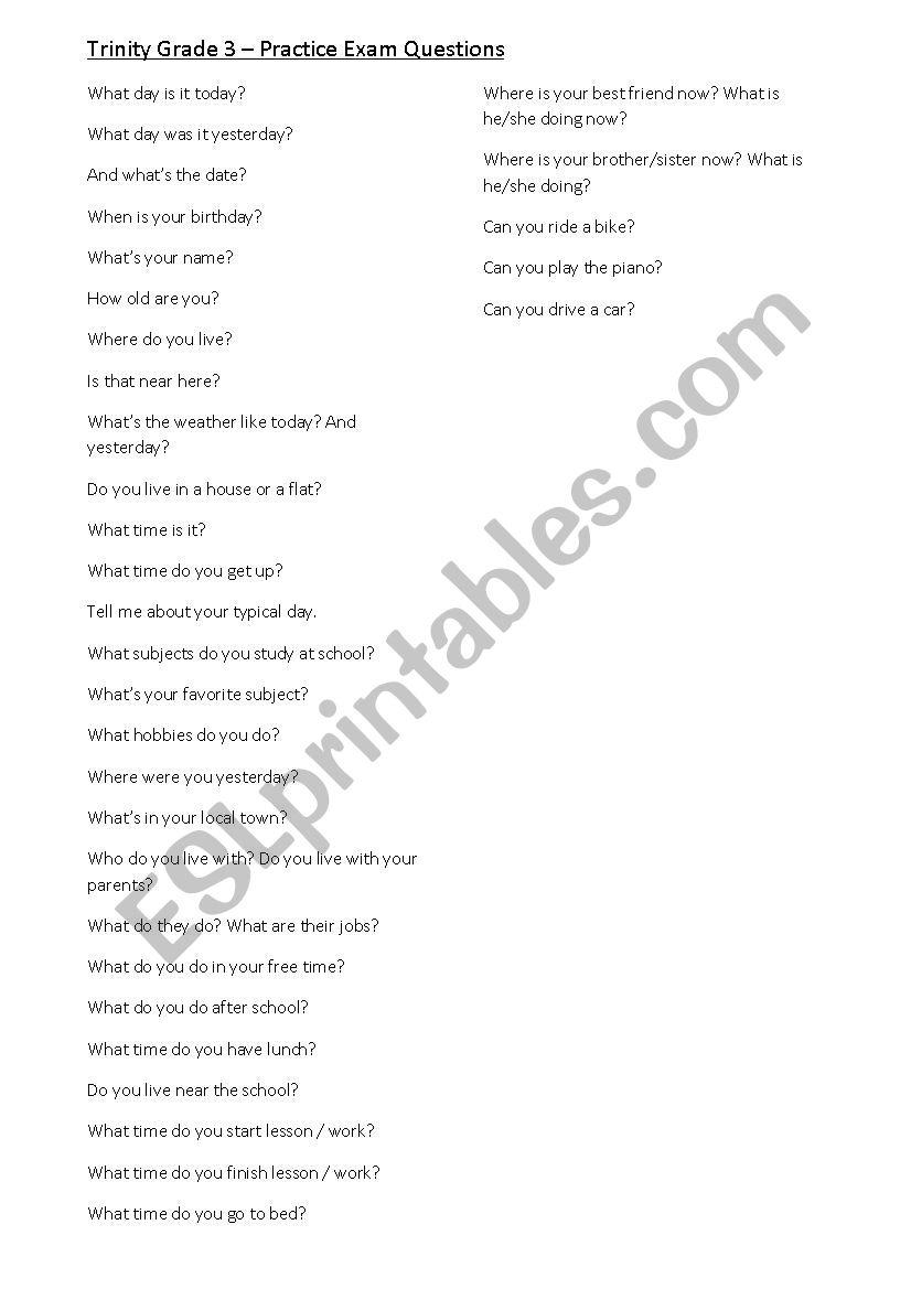 GESE Trinity Grade 3 - Practice Questions