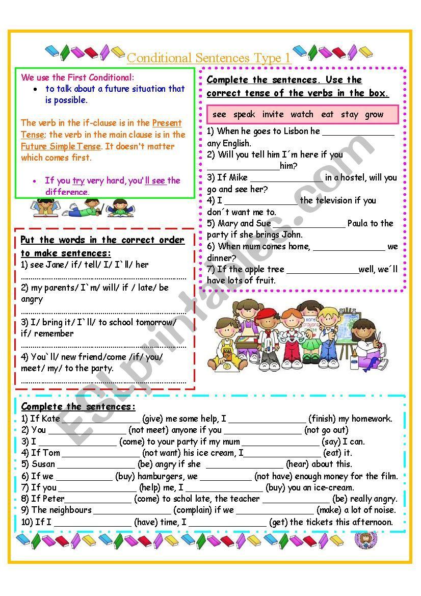 Conditional Sentences Type 1 worksheet