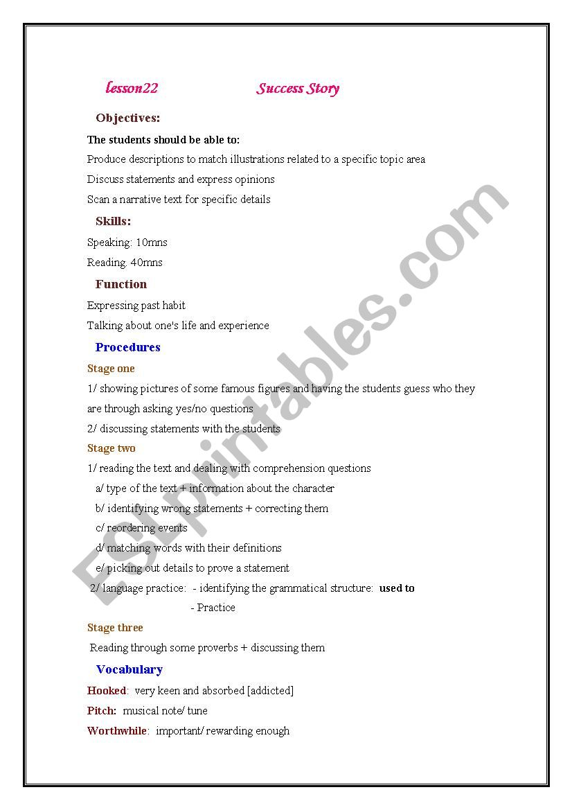 lesson 22 success story lesson plan - ESL worksheet by tantouna