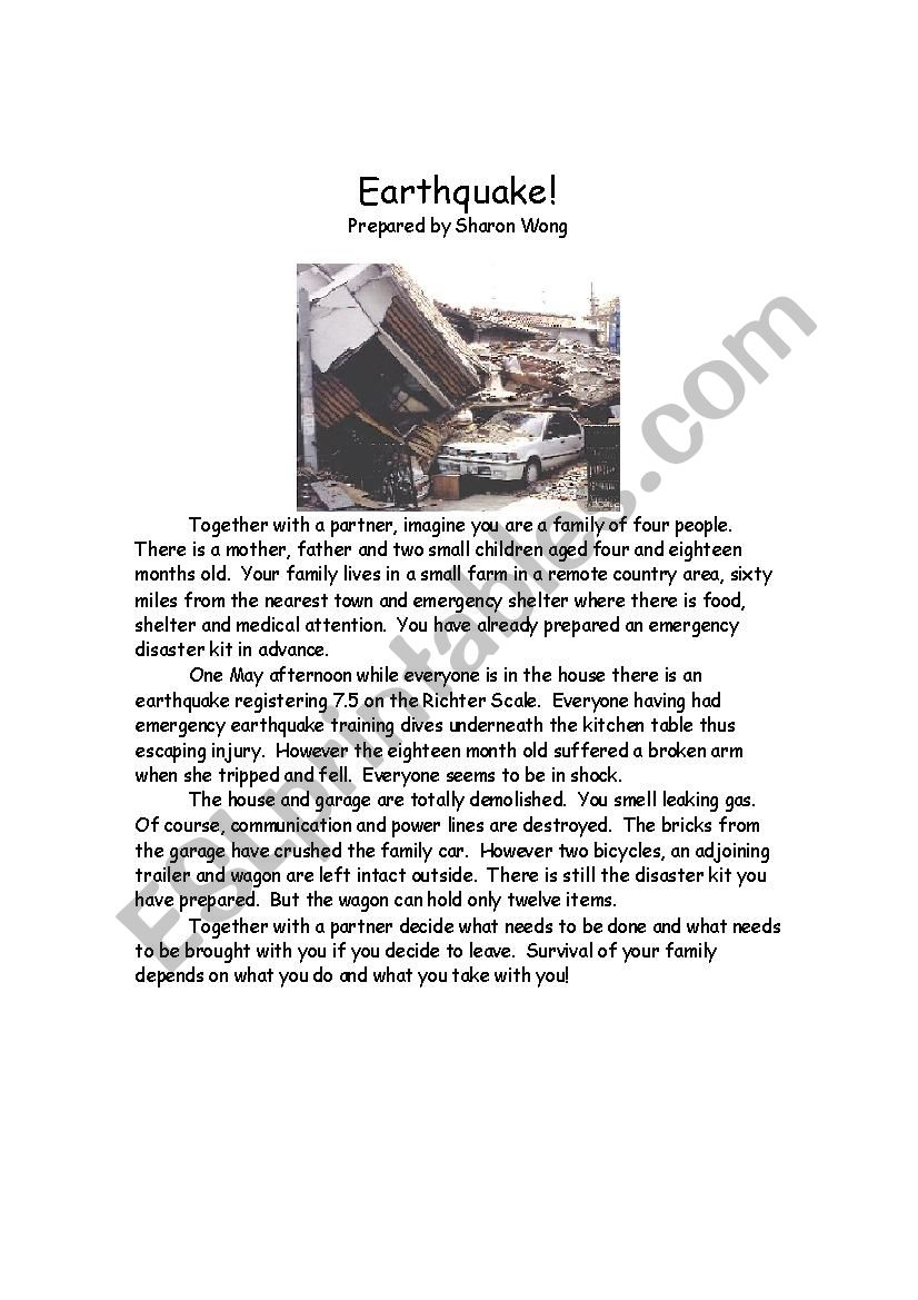 Earthquake Survival Situation worksheet